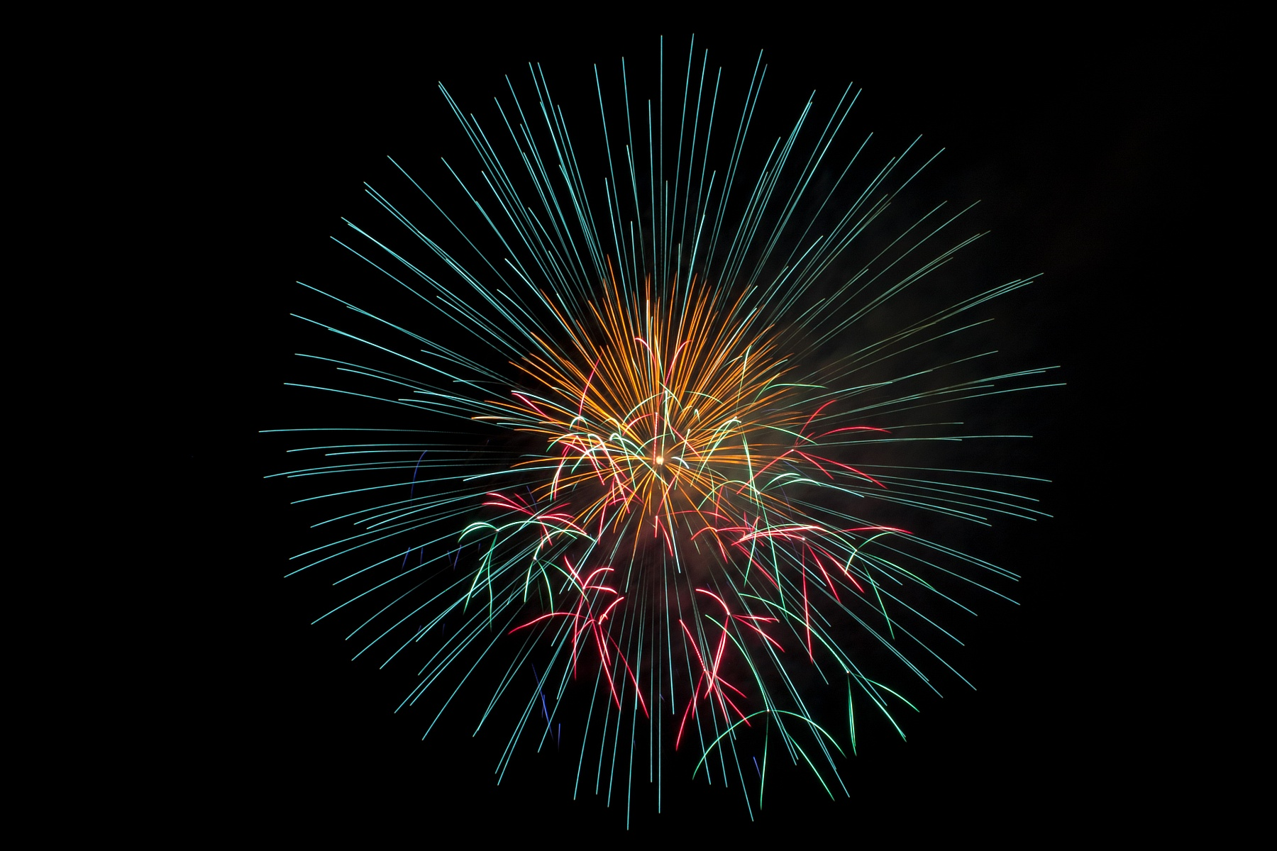 green and gold firework