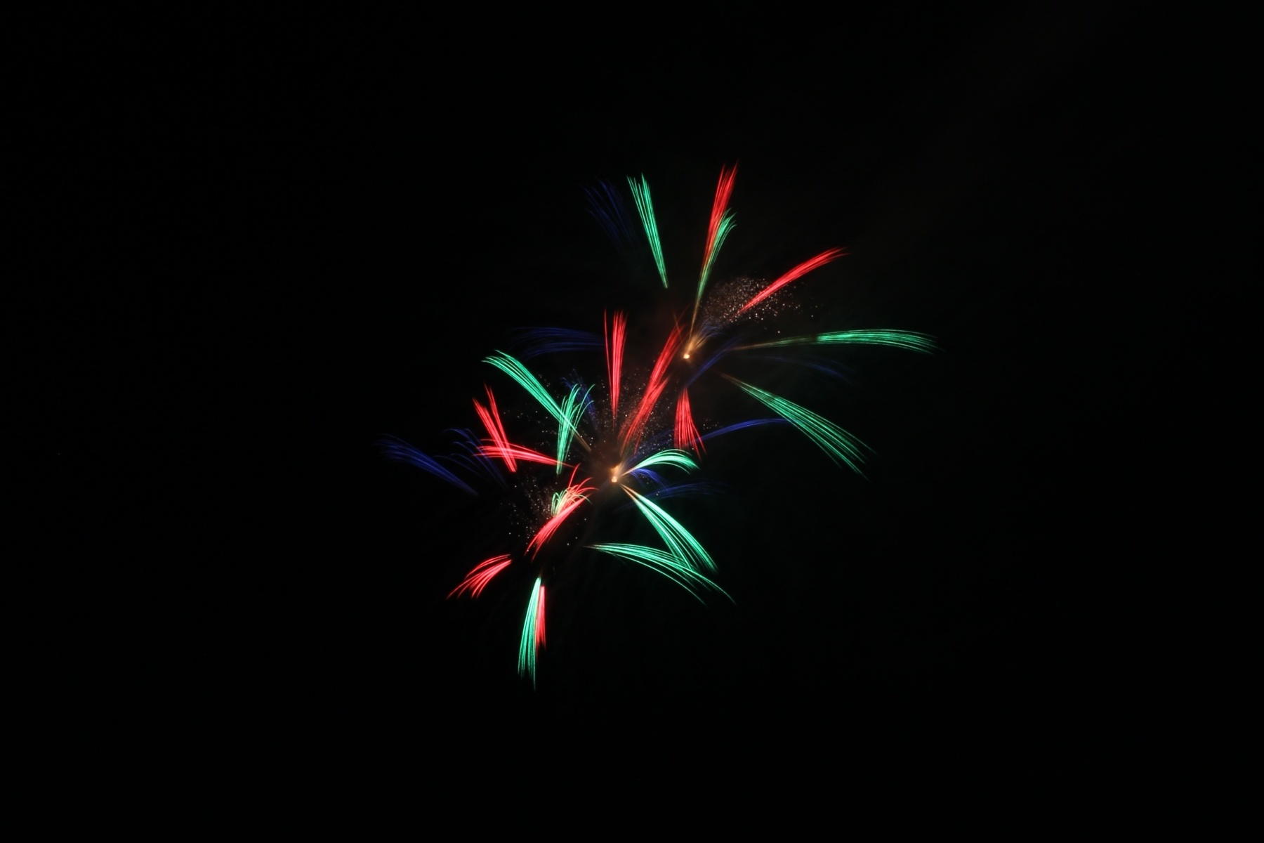 green red and blue star shaped fireworks