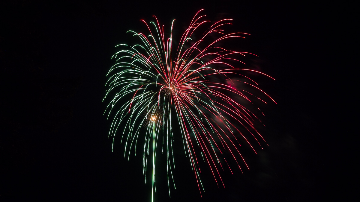 half red half green firework