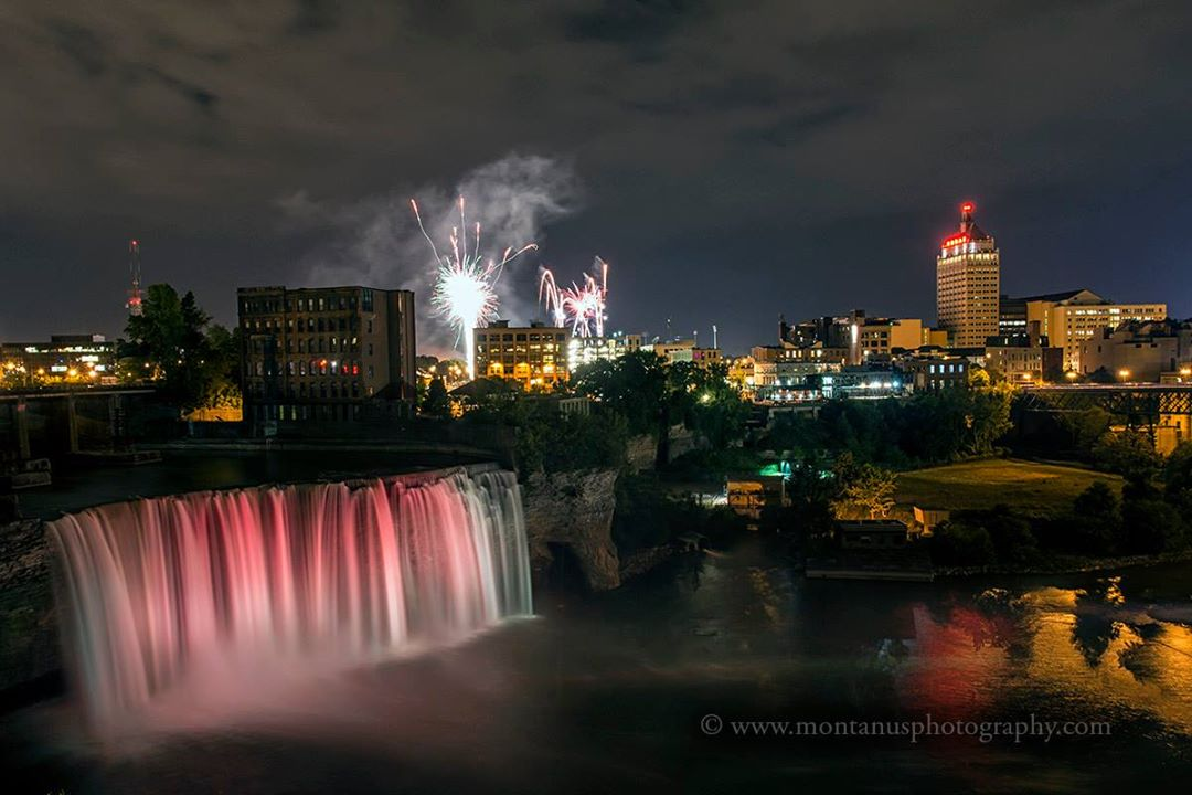 fireworks display over high falls rochester ny