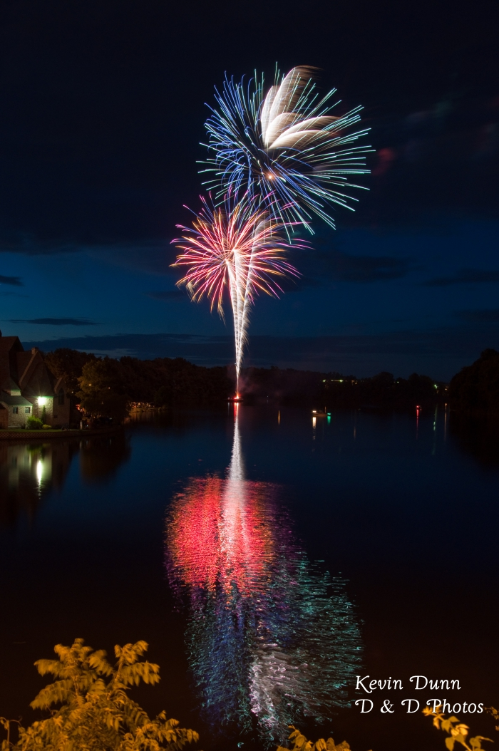 fireworks exploding over a lake