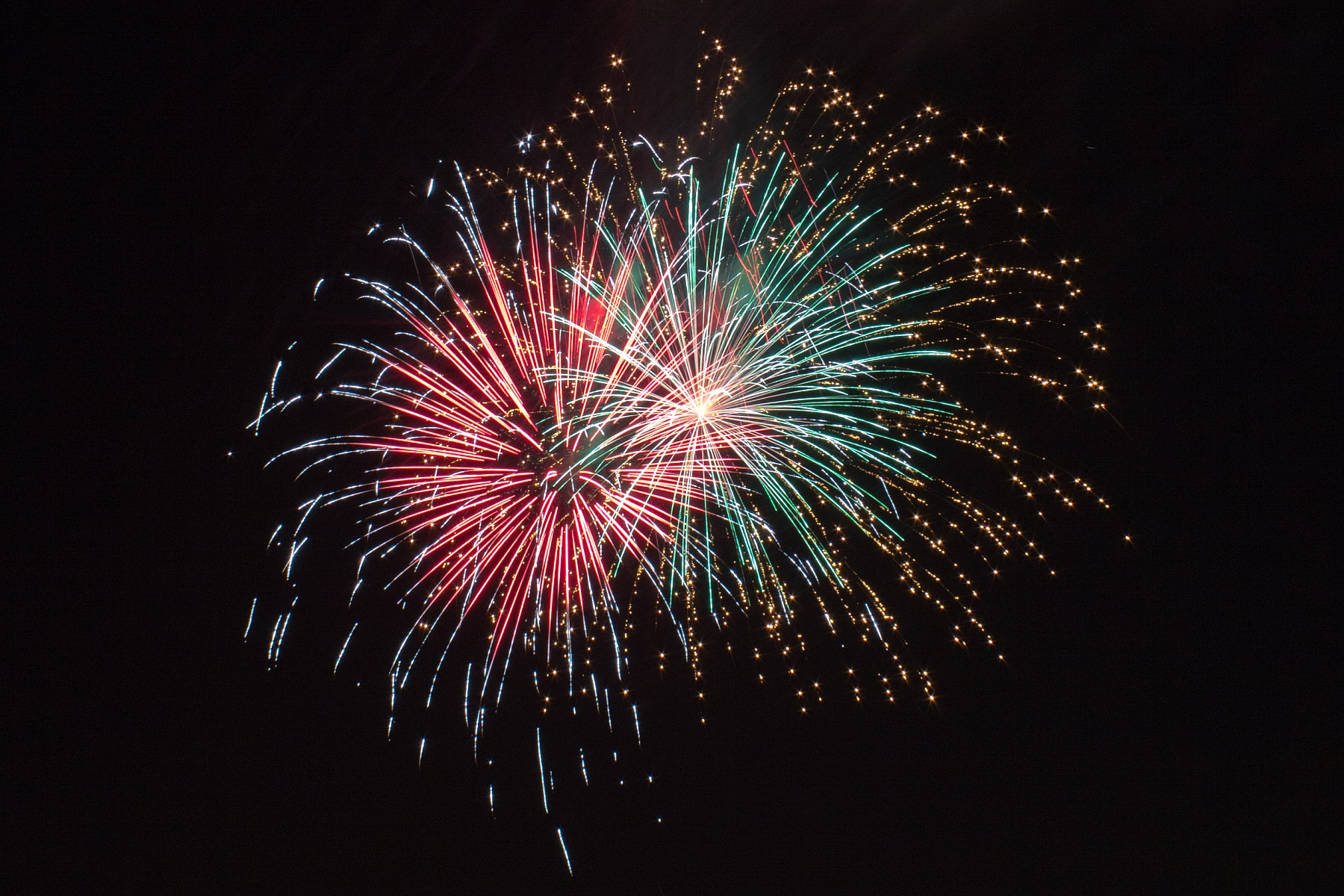 red green and gold fireworks