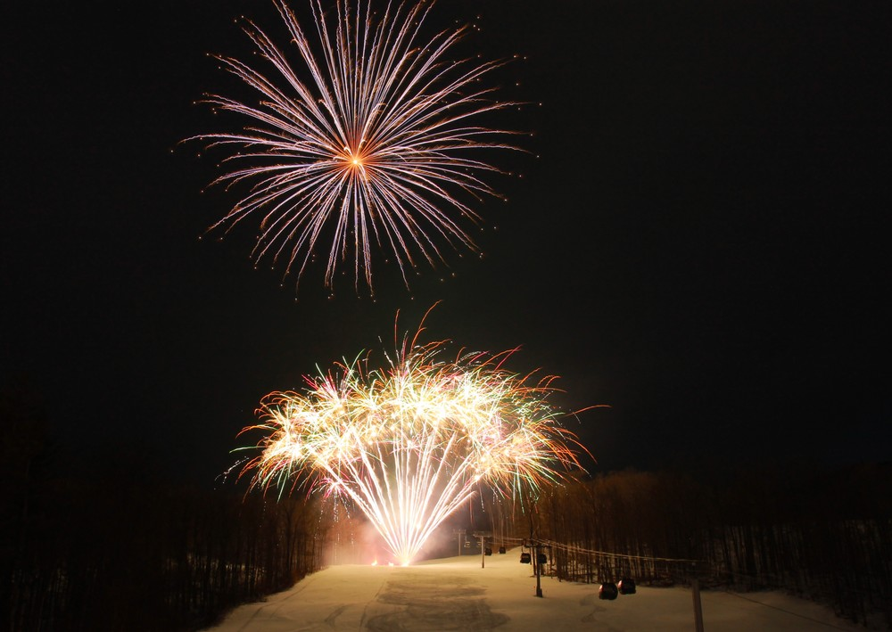 fireworks display at a ski resort