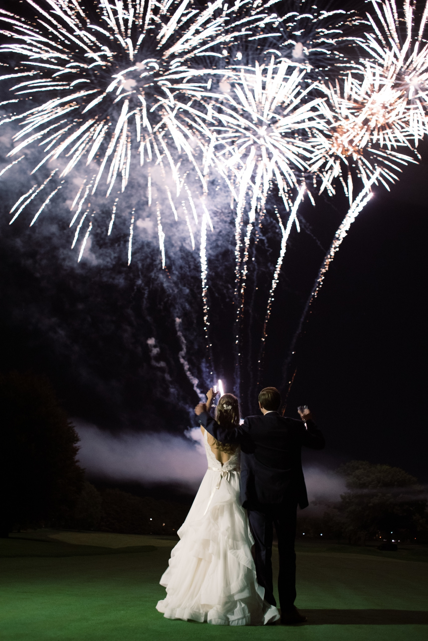 wedding fireworks with bride and groom
